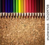 crayon on the corck background. | Shutterstock . vector #524209708