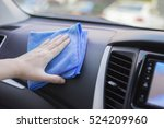 Small photo of Hand with microfiber cloth cleaning leather seat,auto detailing and valeting concept,washing car care interior,selective focus,vintage color
