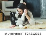 Stock photo portrait of woman with dog 524212318