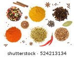 colorful spices and herbs for... | Shutterstock . vector #524213134