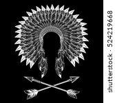 native american indian war... | Shutterstock .eps vector #524219668