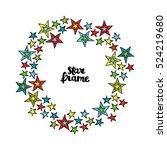 multicolored stars. star frame. ... | Shutterstock .eps vector #524219680