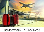 traveling luggage in airport... | Shutterstock . vector #524221690