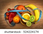 vegetables and fruits on a... | Shutterstock . vector #524224174
