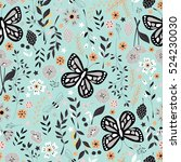 seamless pattern with flowers ... | Shutterstock .eps vector #524230030