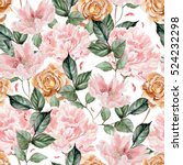watercolor pattern with peony... | Shutterstock . vector #524232298