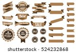 set of brown ribbons , badges and labels. flat design concept. branding and sale decoration. vector illustration. isolated on white background. | Shutterstock vector #524232868