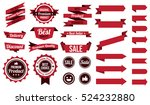 set of red ribbons   badges and ... | Shutterstock .eps vector #524232880