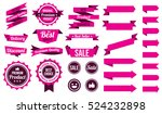 set of pink ribbons   badges... | Shutterstock .eps vector #524232898