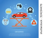car service concept with flat... | Shutterstock .eps vector #524234470