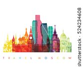 moscow detailed skyline .... | Shutterstock .eps vector #524234608