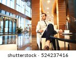 Stock photo portrait of handsome successful man drink coffee sitting in coffee shop business man having 524237416