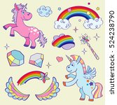 cute magic unicorn  rainbow ... | Shutterstock . vector #524238790