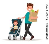 father with a package of... | Shutterstock .eps vector #524241790