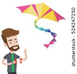 young hipster man flying a... | Shutterstock .eps vector #524247250