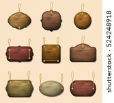 old wooden label templates or... | Shutterstock .eps vector #524248918