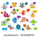 cartoon silly monsters with... | Shutterstock .eps vector #524248954