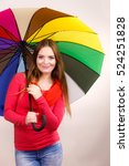 woman fashionable rainy smiling ...   Shutterstock . vector #524251828