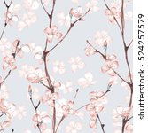 Stock photo blossom watercolor seamless floral pattern hand drawn background 524257579