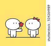 cute man gives a flower to the... | Shutterstock .eps vector #524264989