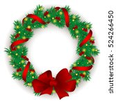 christmas wreath with baubles... | Shutterstock .eps vector #524266450