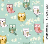 cute floral seamless pattern... | Shutterstock .eps vector #524268130