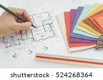 hand writing on architectural... | Shutterstock . vector #524268364