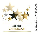 vector illustration xmas backdrop. abstract background with gold geomerty style stars for Christmas ans New year decorativ greeting cards, header, web banners.