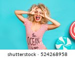 amazing cute young pretty girl... | Shutterstock . vector #524268958