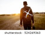 young man with drone go to... | Shutterstock . vector #524269363