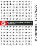 shopping and commerce icon set...   Shutterstock .eps vector #524276200