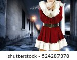 santa claus woman and dark... | Shutterstock . vector #524287378