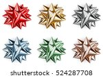 set of beautiful big bows made... | Shutterstock . vector #524287708