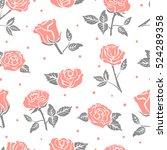 seamless roses pattern. vector... | Shutterstock .eps vector #524289358