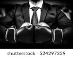 businessman with boxing gloves... | Shutterstock . vector #524297329