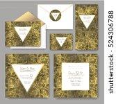 set of shiny wedding cards.... | Shutterstock .eps vector #524306788