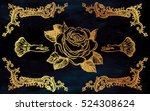 ornate frame with hand drawn... | Shutterstock .eps vector #524308624