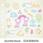 children's drawing on paper... | Shutterstock . vector #524308696