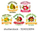 exotic fruit sign and badge set.... | Shutterstock .eps vector #524313094