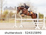 Stock photo young female rider on bay horse jumping over hurdle on equestrian sport competition 524315890