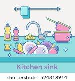 kitchen sink with kitchenware ...   Shutterstock .eps vector #524318914