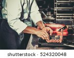 white chef in apron standing... | Shutterstock . vector #524320048