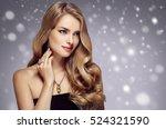 beauty woman winter snow face... | Shutterstock . vector #524321590