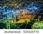 modern city diorama and network ... | Shutterstock . vector #524324773