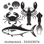seafood silhouette set. lobster ... | Shutterstock .eps vector #524325076