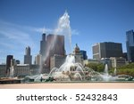 Chicago Skyline And Fountain