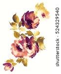 flowers watercolor illustration.... | Shutterstock . vector #524329540
