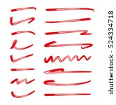 red hand drawn brush lines ... | Shutterstock .eps vector #524334718