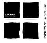 set of black grunge abstract... | Shutterstock .eps vector #524343850