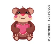 cute teddy bear hugging a pink... | Shutterstock .eps vector #524347003